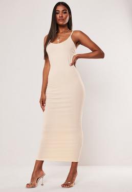 Sand Strappy Bodycon Midi Dress