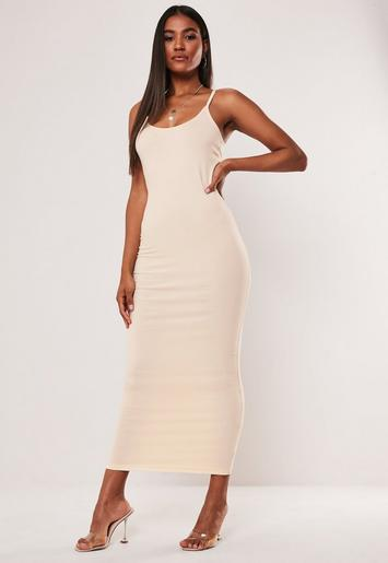 Sand Strappy Bodycon Midi Dress by Missguided