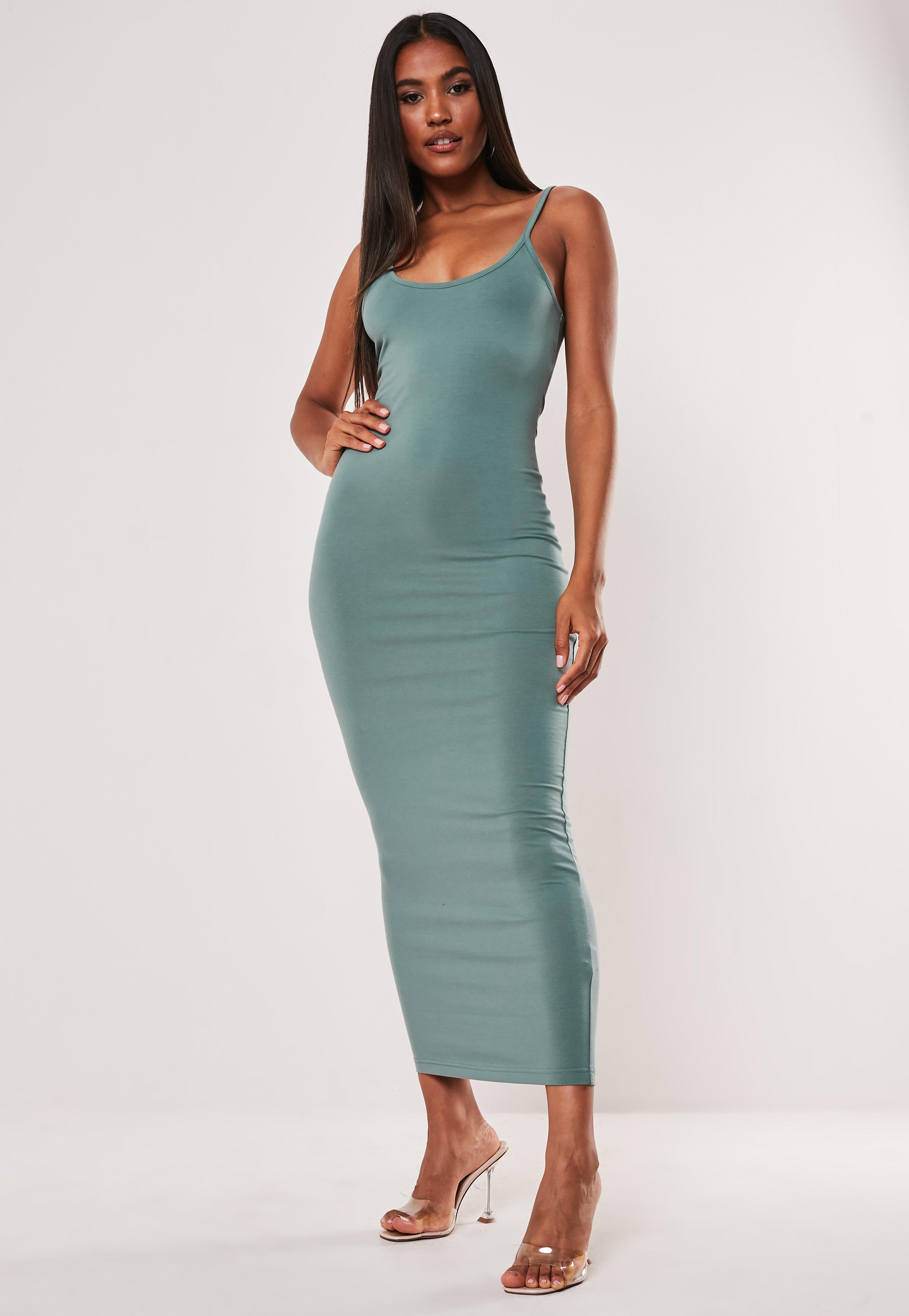 Teal Strappy Bodycon Midi Dress by Missguided