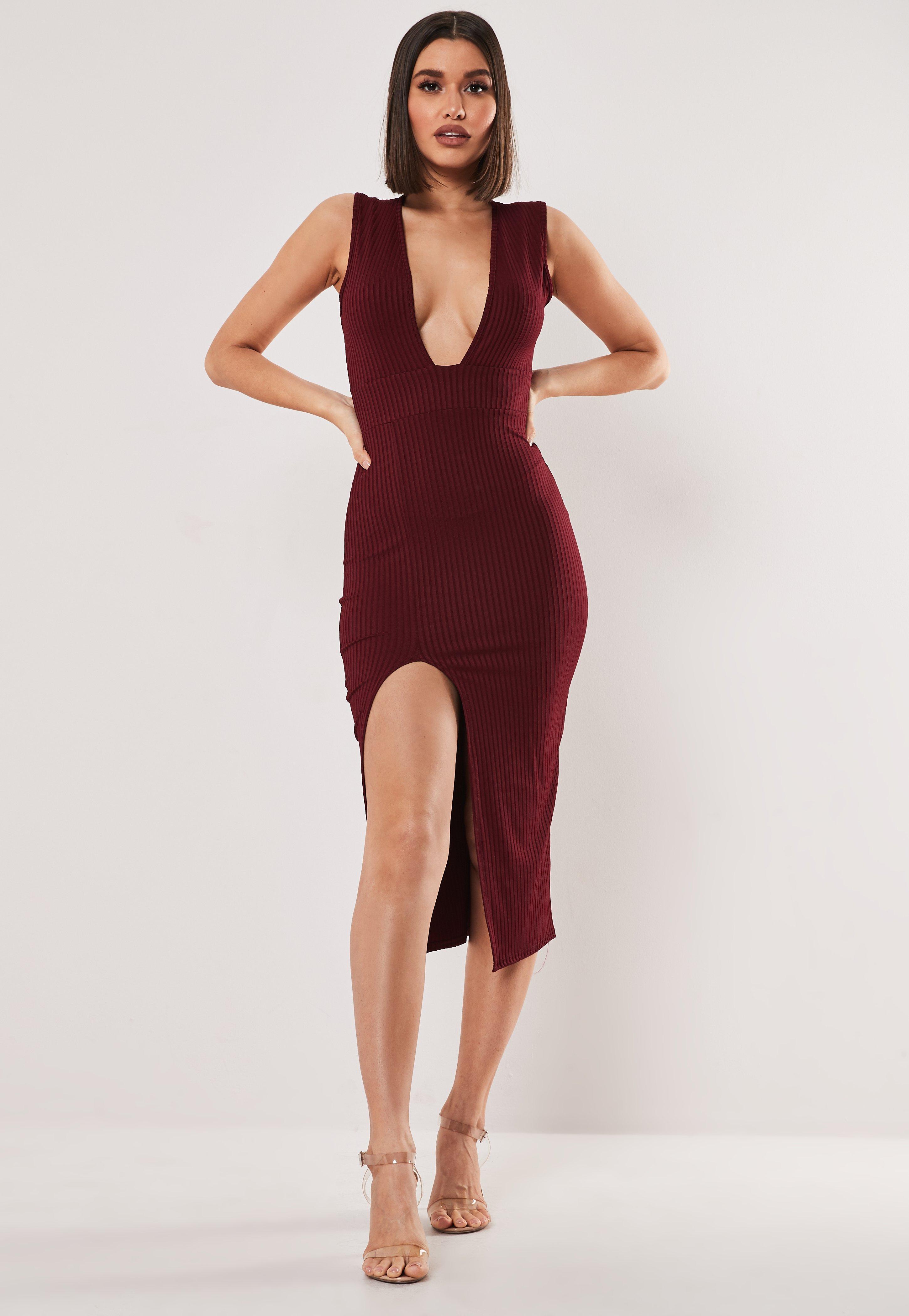 Burgundy Rib Plunge Hem Split Midi Dress by Missguided