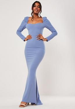 Синее платье макси с длинным рукавом и длинными рукавами для невесты