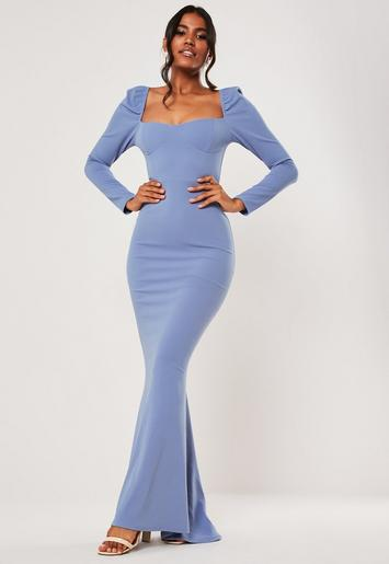 Bridesmaid Blue Milkmaid Long Sleeve Fishtail Maxi Dress