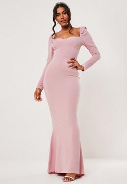 Розовое платье макси с длинным рукавом в форме рыбки
