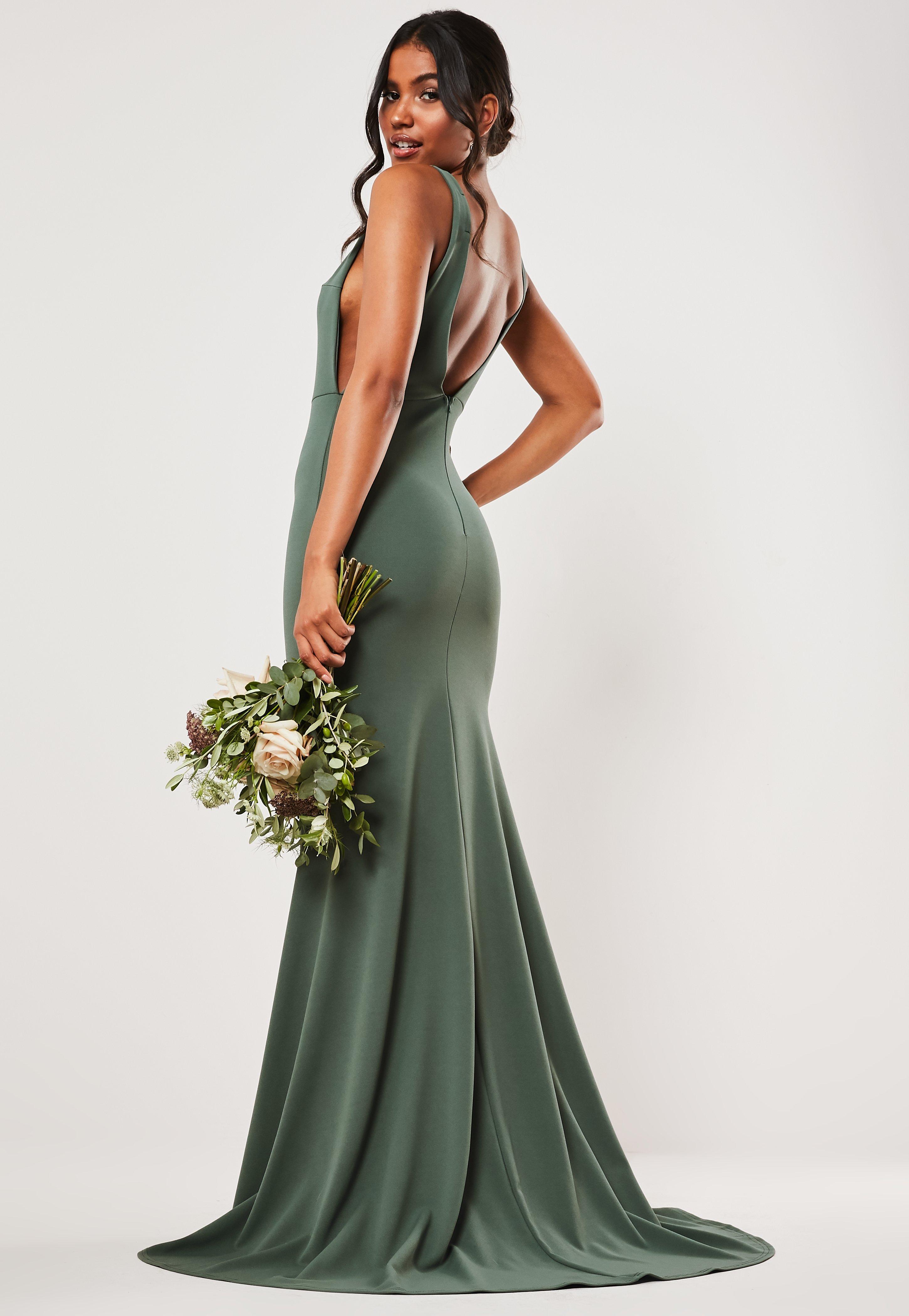 62e24d40f0 Bridesmaid Green Sleeveless Low Back Maxi Dress