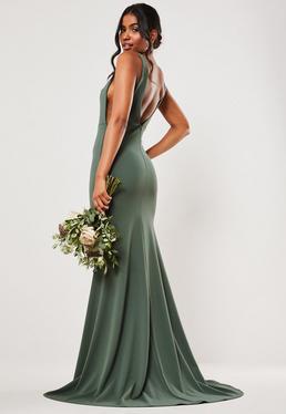 Зеленое платье макси без рукавов
