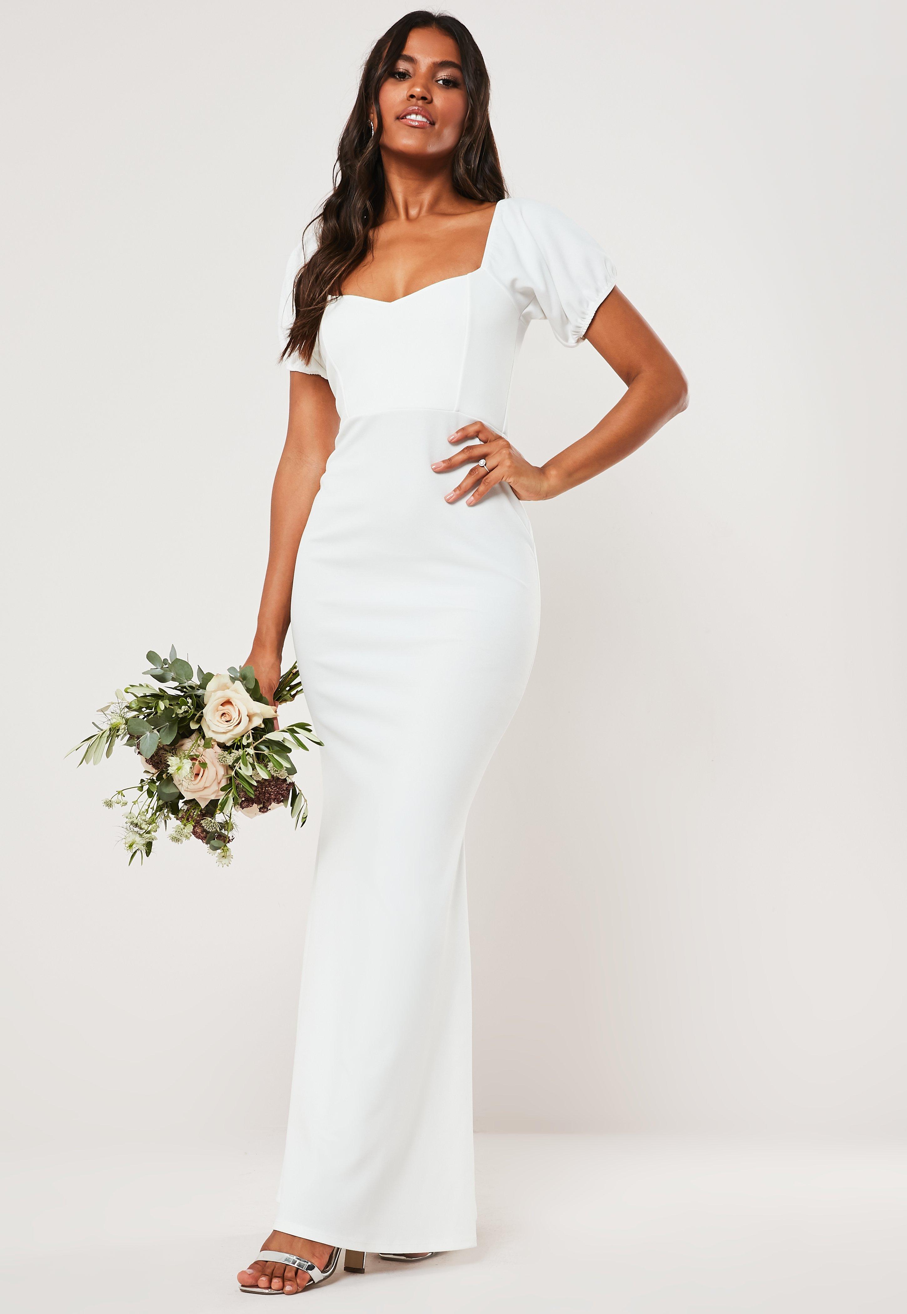 b26b70ba99 Bridesmaid White Sweetheart Puff Sleeve Maxi Dress