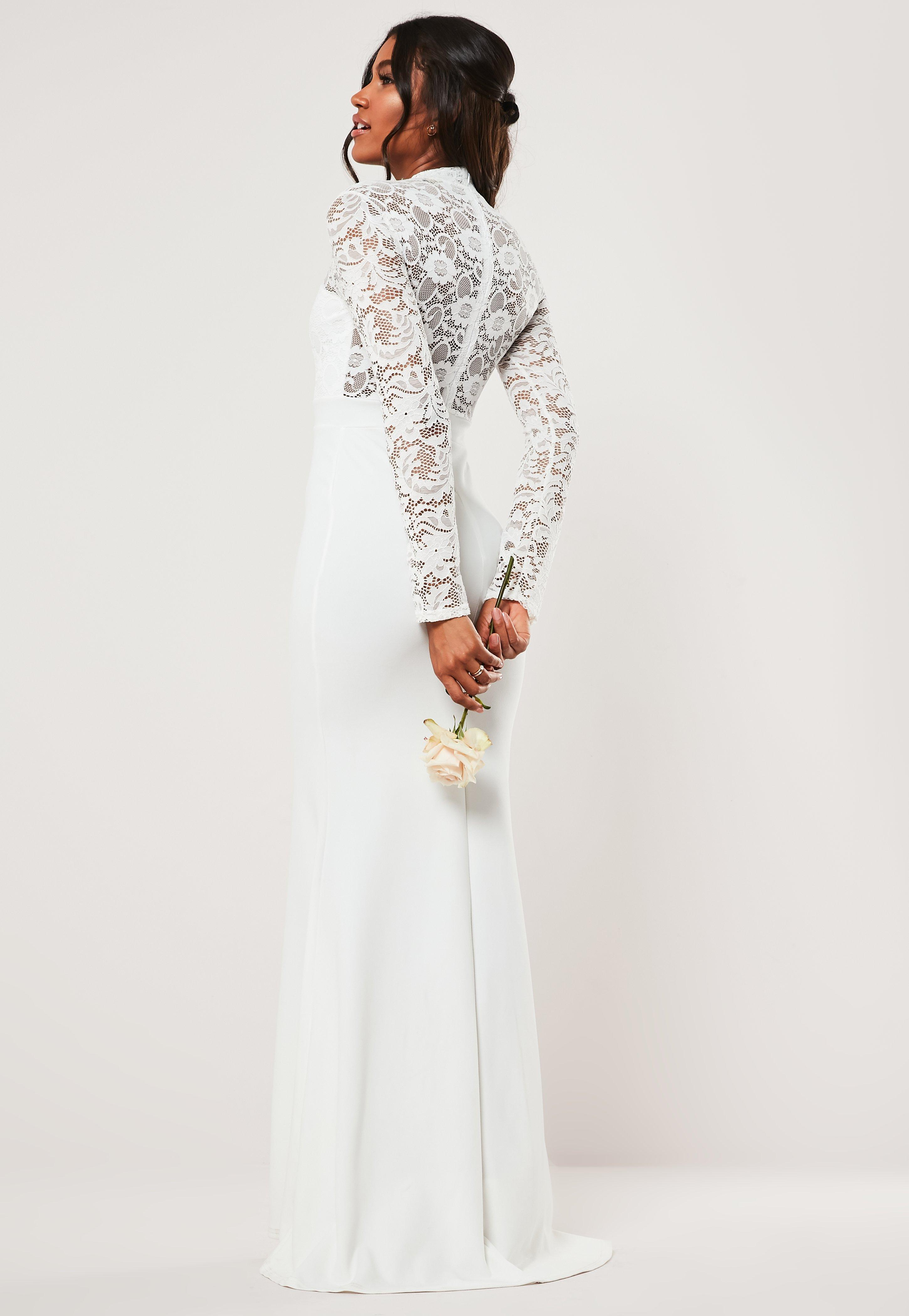 786fb6d3e81 Bridesmaid White Long Sleeve Lace Back Maxi Dress