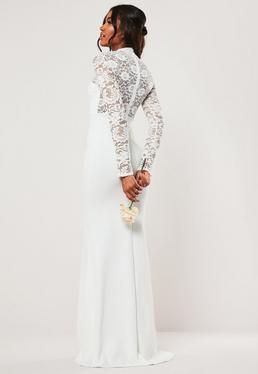 Белое платье макси с длинным рукавом и кружевной спиной