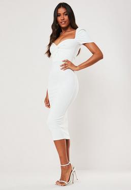 Белое платье-миди с завязкой спереди