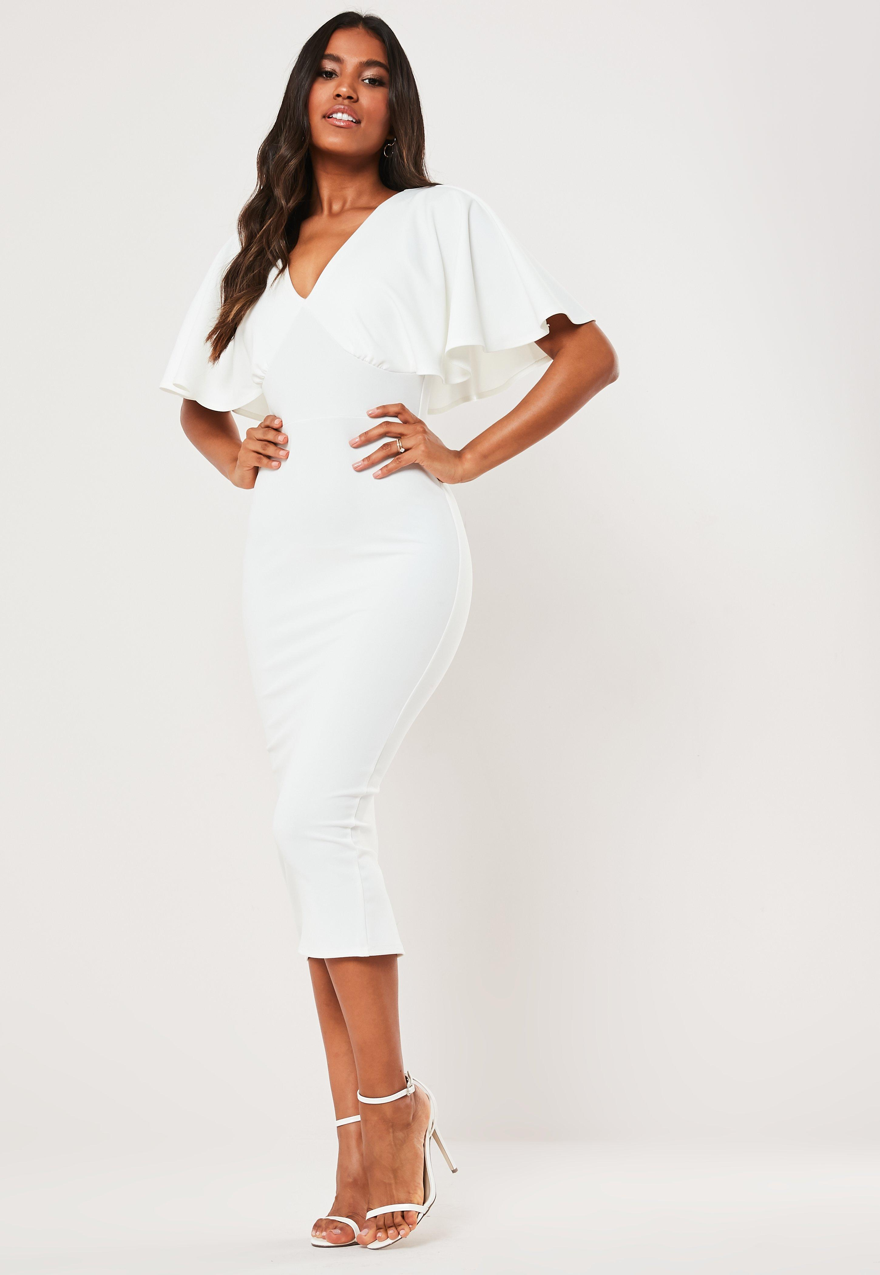 precio especial para la mejor moda múltiples colores Vestido midi con escote en v con manga capa en blanco