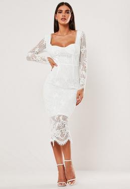 Белое кружевное платье-миди с длинными рукавами