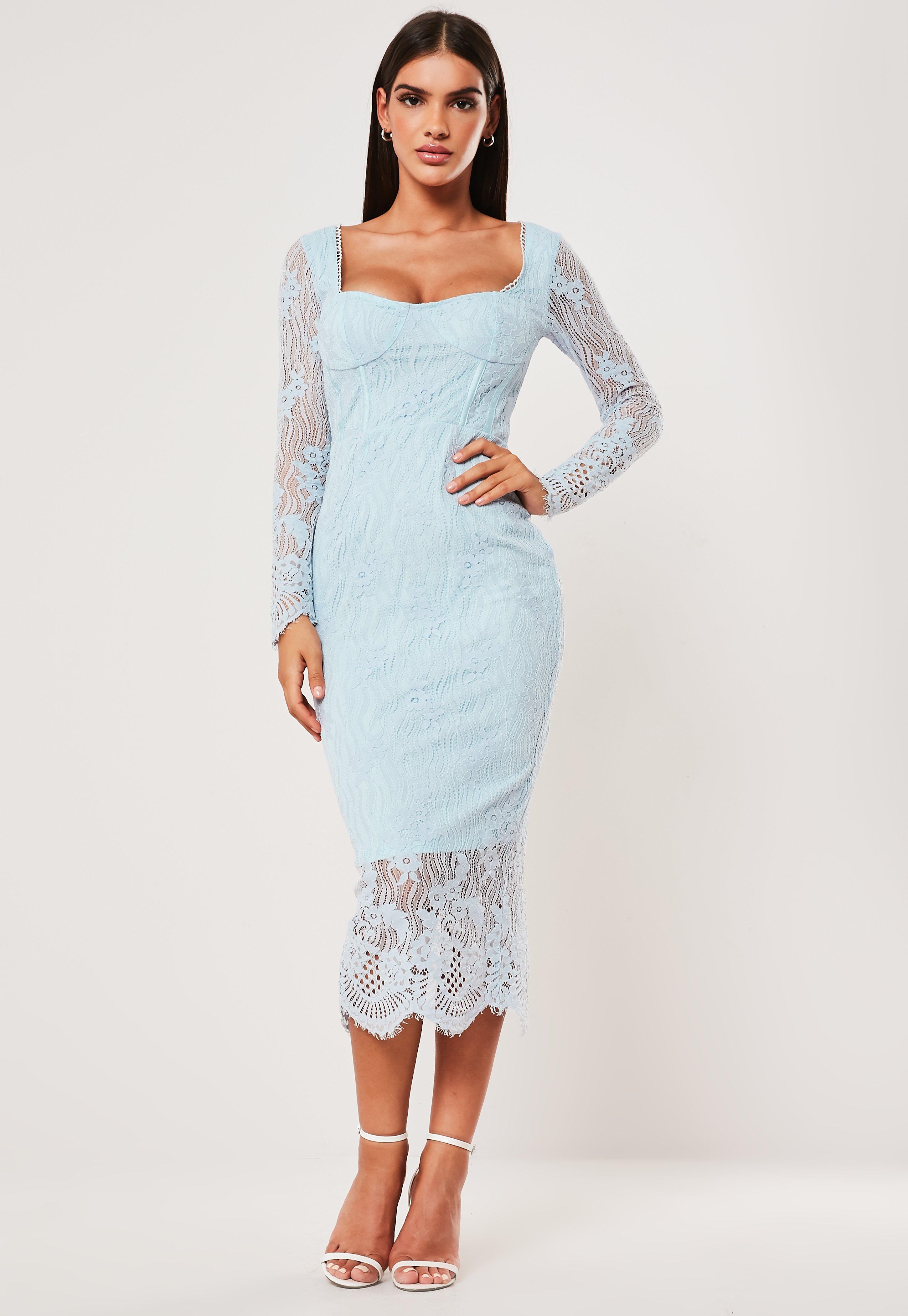 25013f47db695 Blue Lace Long Sleeve Milkmaid Midi Dress