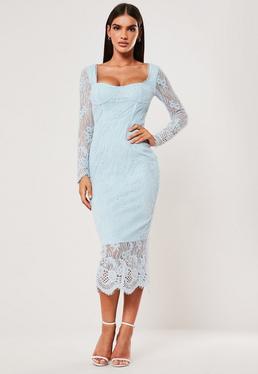 Синее кружевное платье-миди с длинными рукавами
