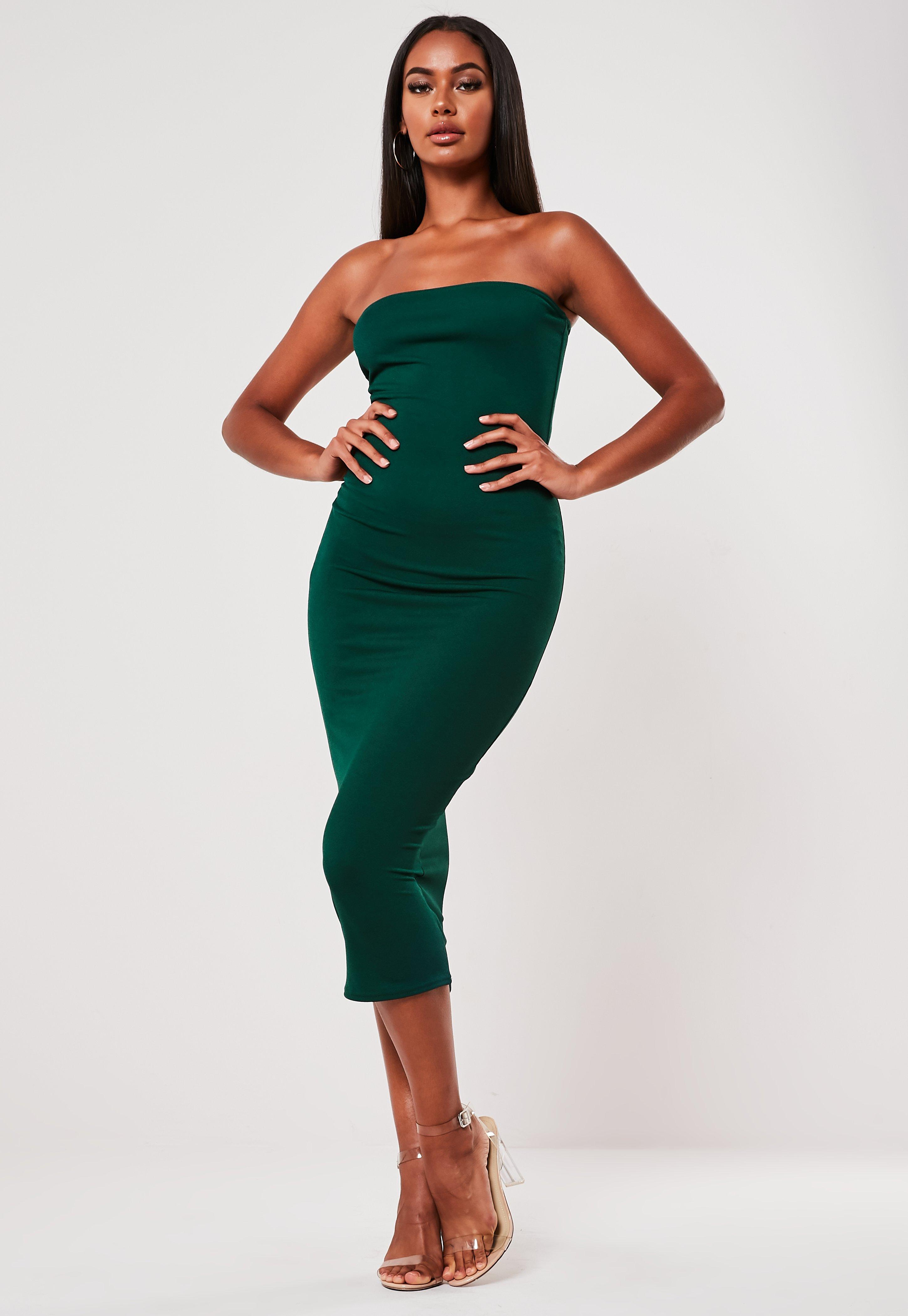 990882c82be9 Green Bandeau Bodycon Midi Dress