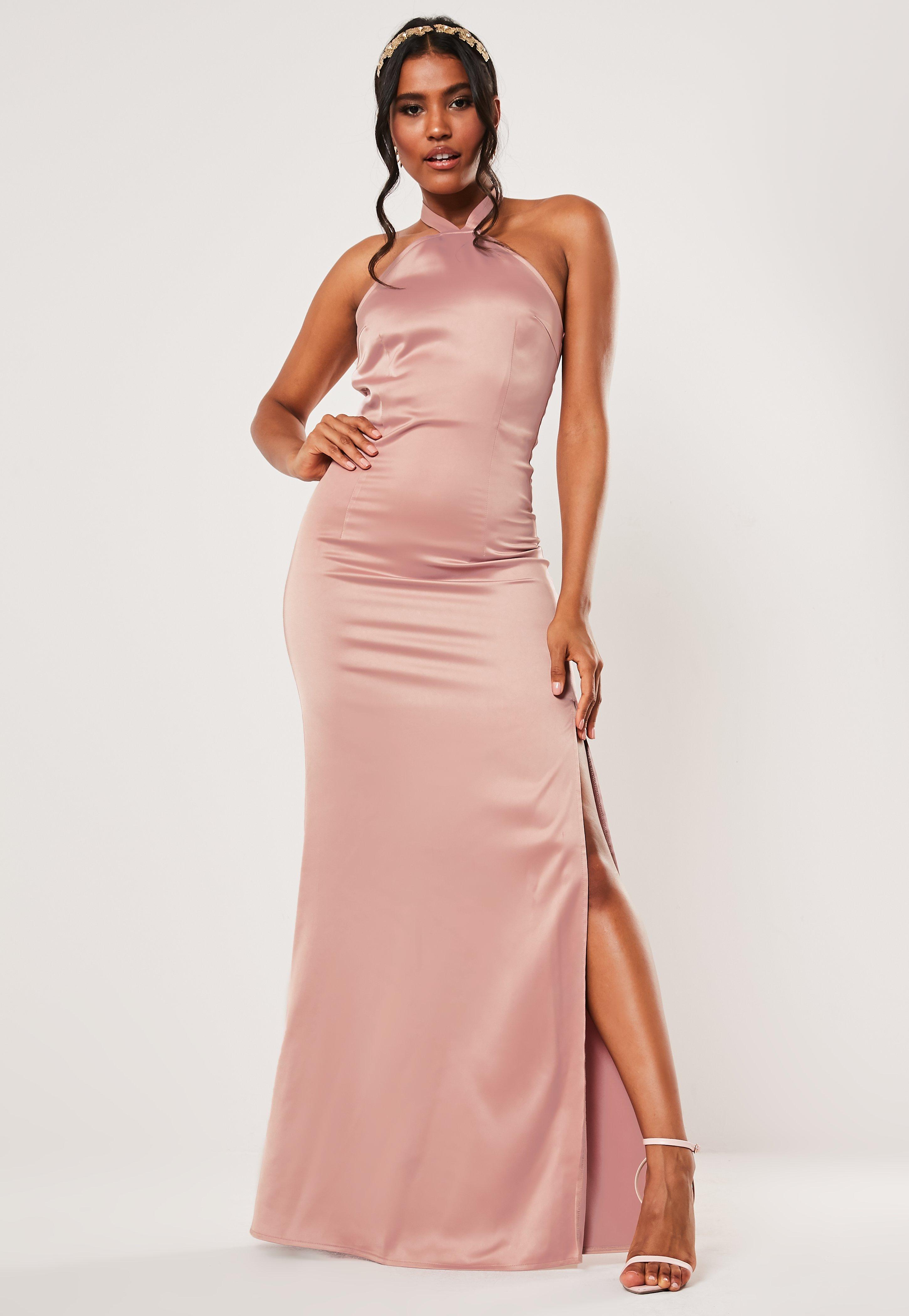 7273331506e1 Bridesmaid Pink Halterneck Deep Split Satin Maxi Dress