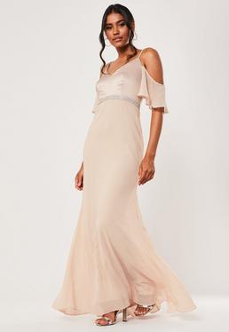 Розовое шифоновое платье макси со стразами невесты