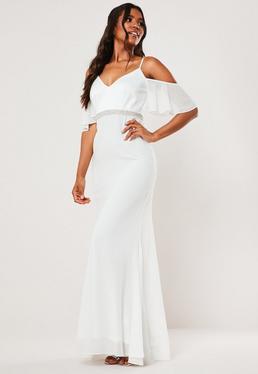 Белое шифоновое платье макси со стразами невесты