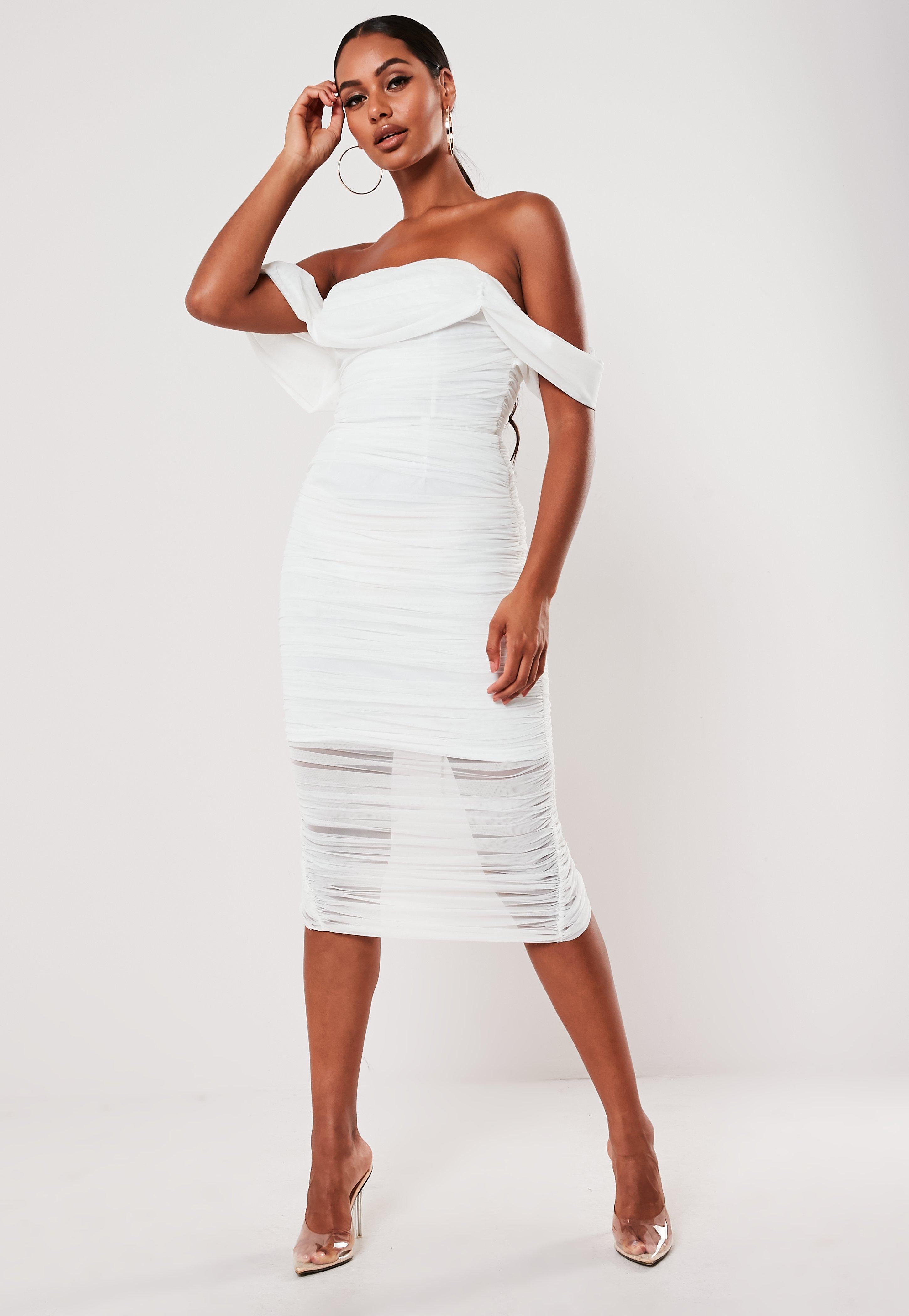 White Ruched Bardot Midi Dress