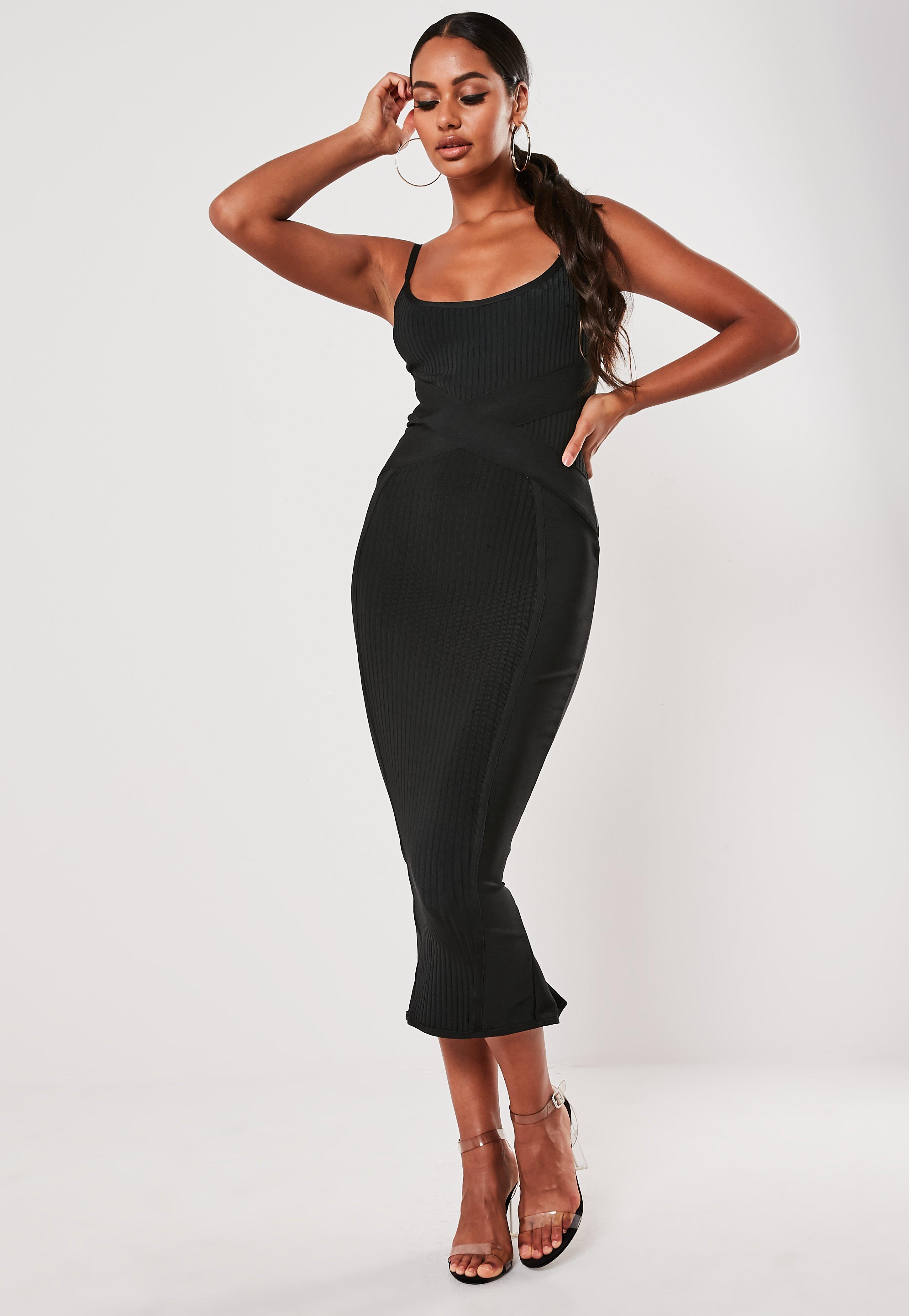 Christmas Dinner Dresses.Black Ribbed X Front Bandage Cami Midaxi Dress