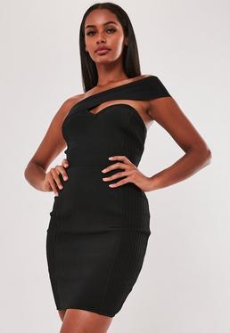 Czarna sukienka mini Premium na jedno rami?