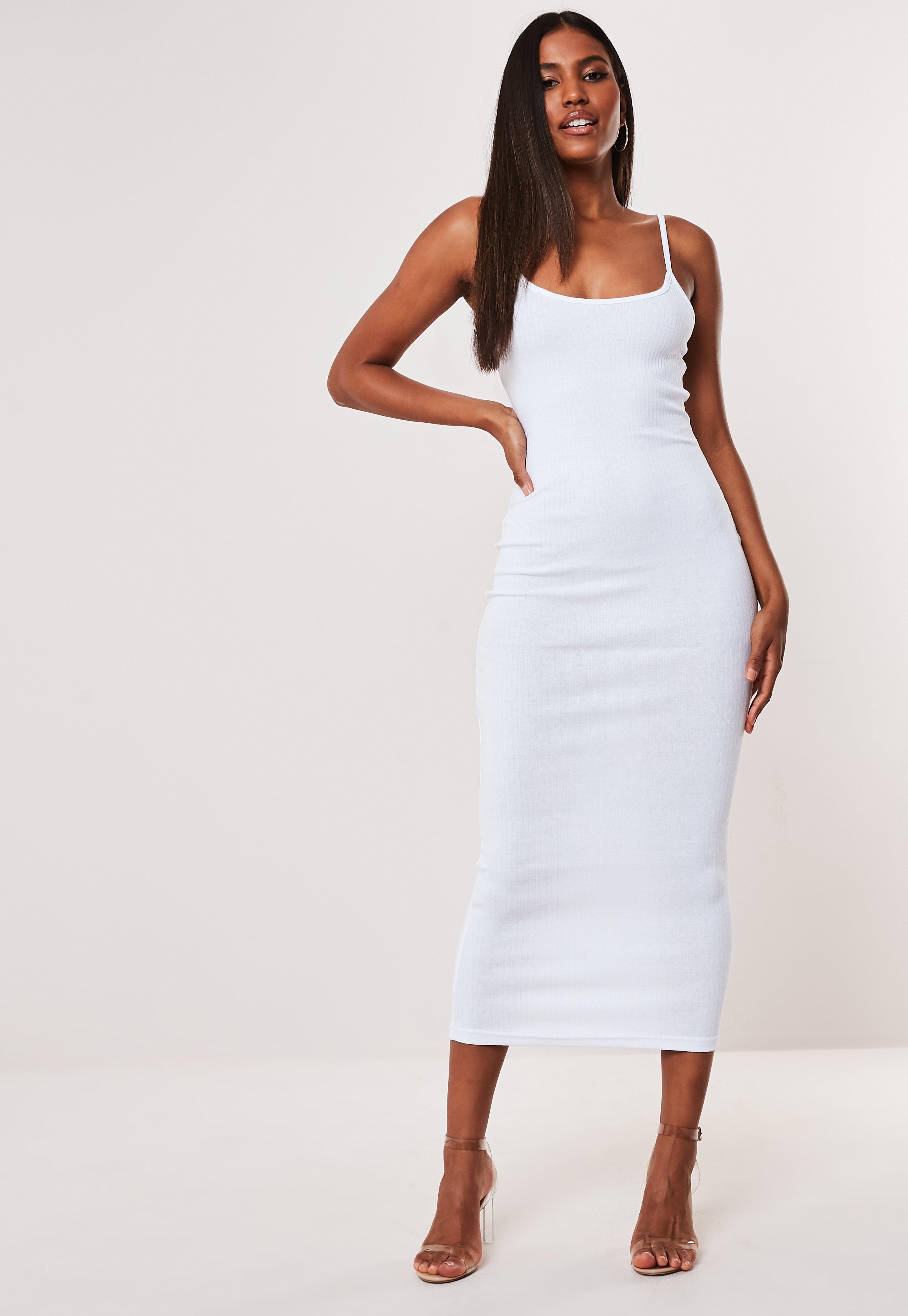 9d0c8866c8297 White Ribbed Strappy Bodycon Midi Dress
