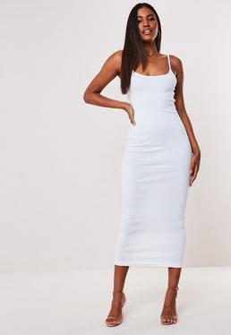 White Ribbed Strappy Bodycon Midi Dress