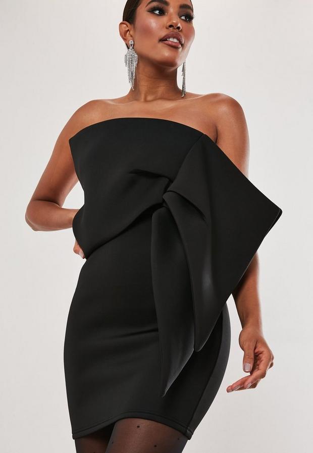 Robe bustier courte noire oversize, Noir