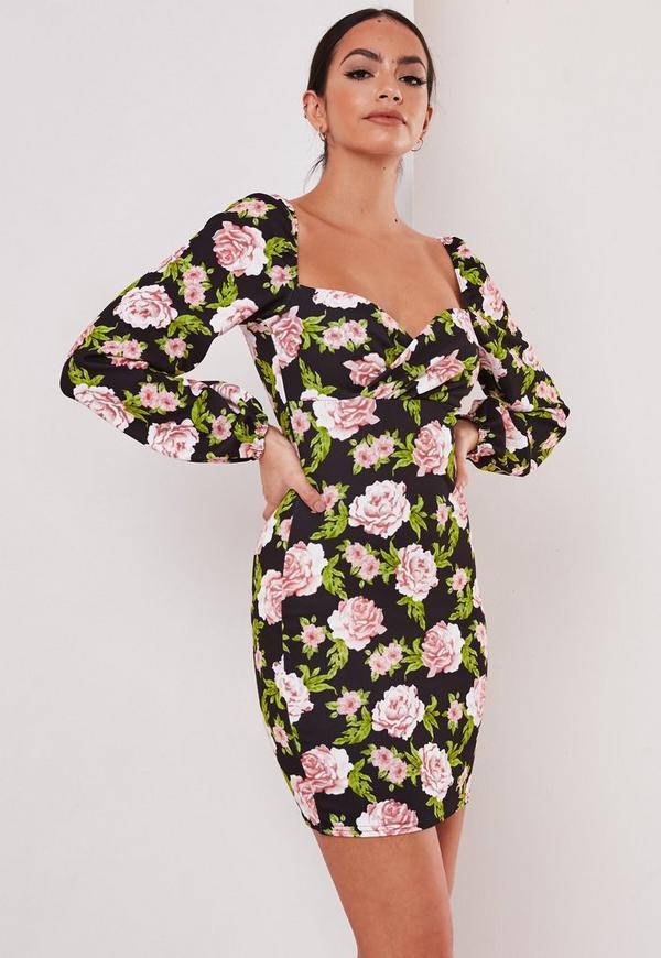 Kurzes Blumen-Kleid mit Herzausschnitt und Ballonärmeln in ...