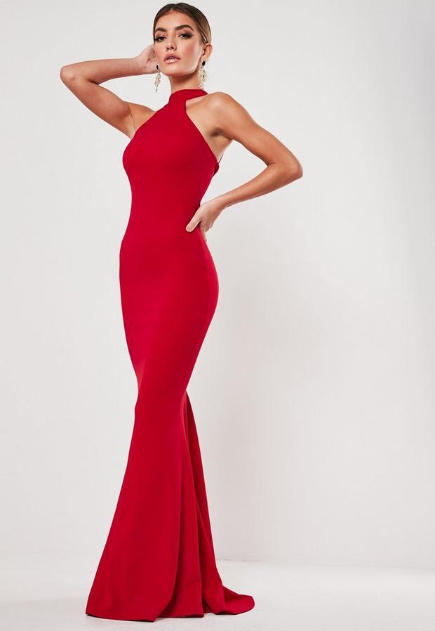 Robe longue rouge à col montant, Rouge