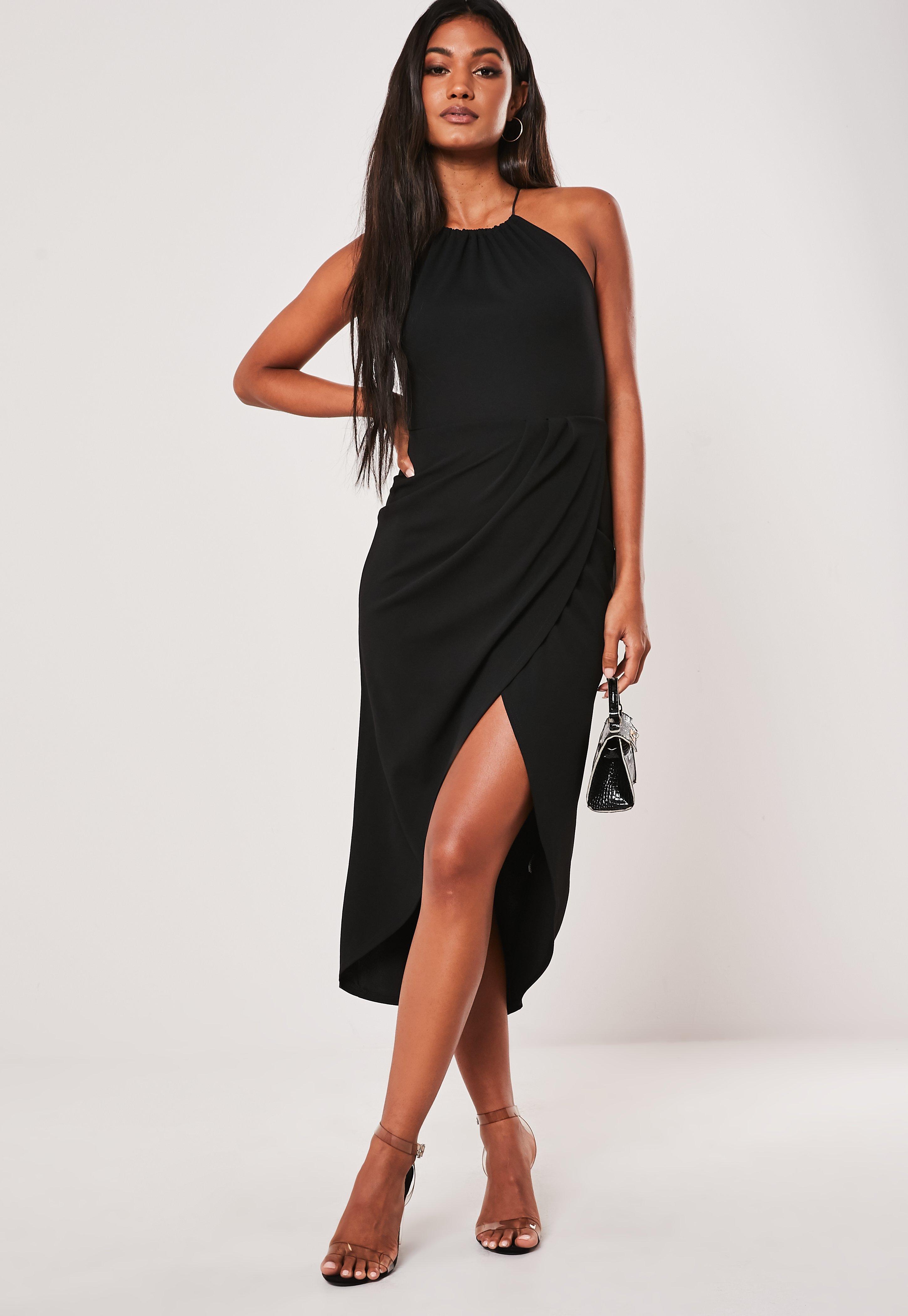 black halter neck cocktail dress