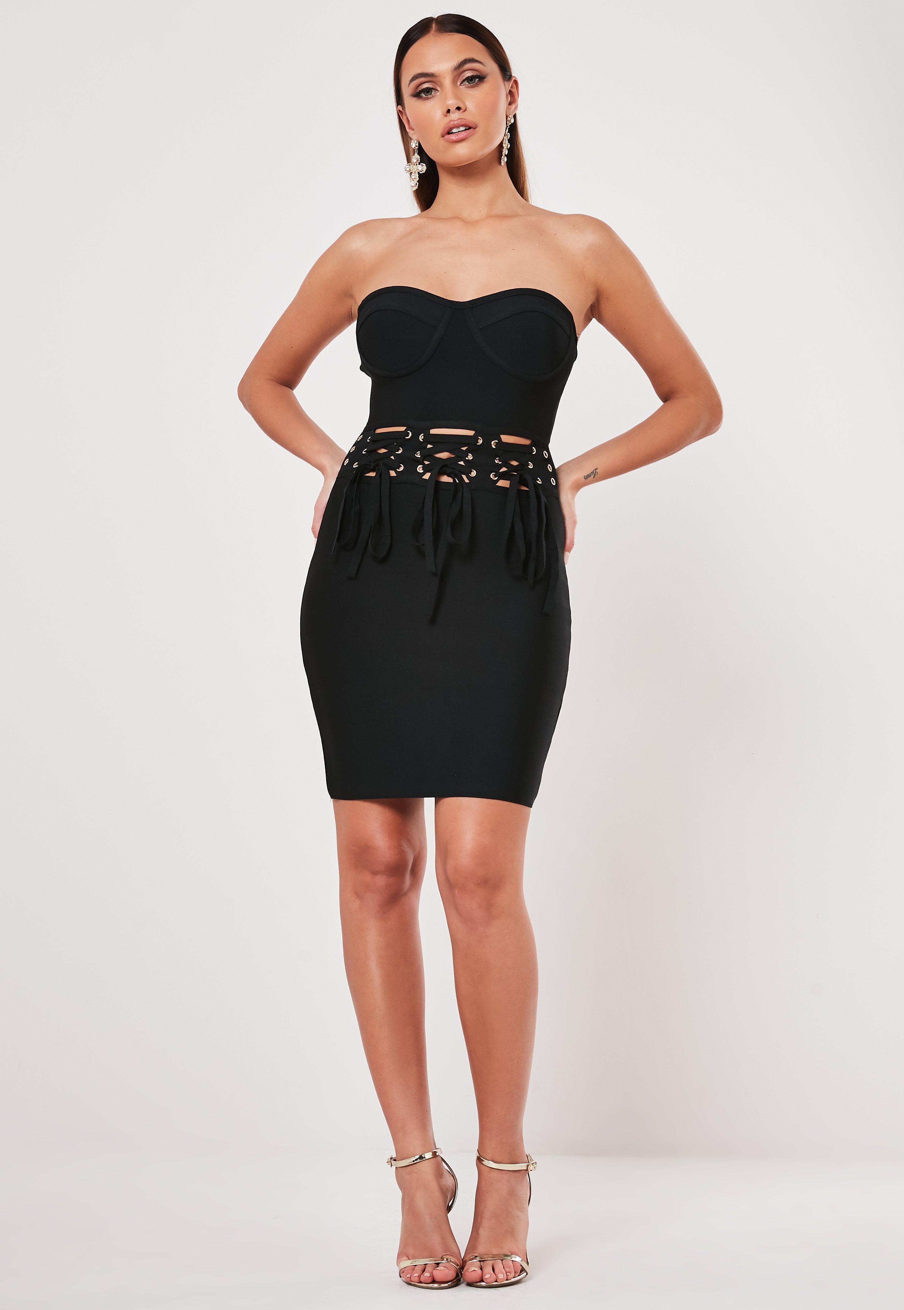 Black Bandage Lace Up Bandeau Mini Dress
