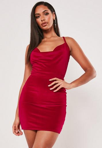 Red Velvet Strappy Cowl Neck Mini Dress Missguided