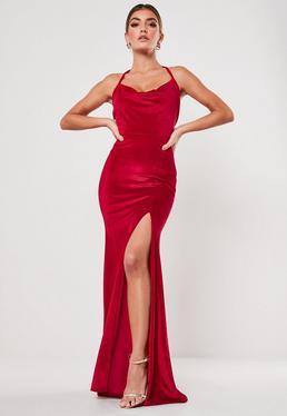 Red Velvet Cowl Halterneck Maxi Dress