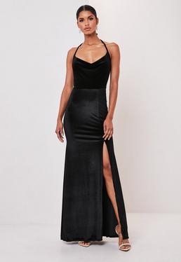 Black Velvet Cowl Neck Split Detail Maxi Dress