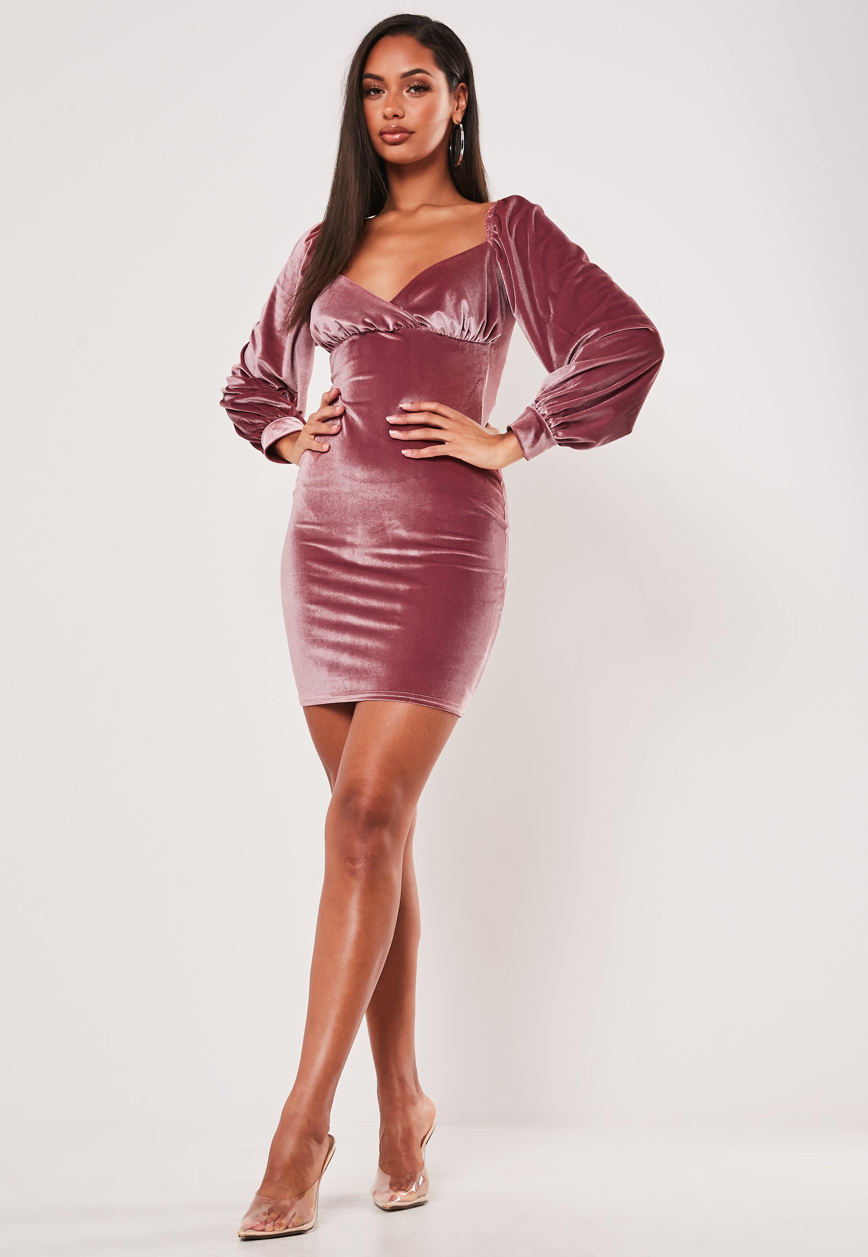 Ladies Womens Velour Velvet Insert Mesh Party Long Sleeve Fit Bodycon Mini Dress