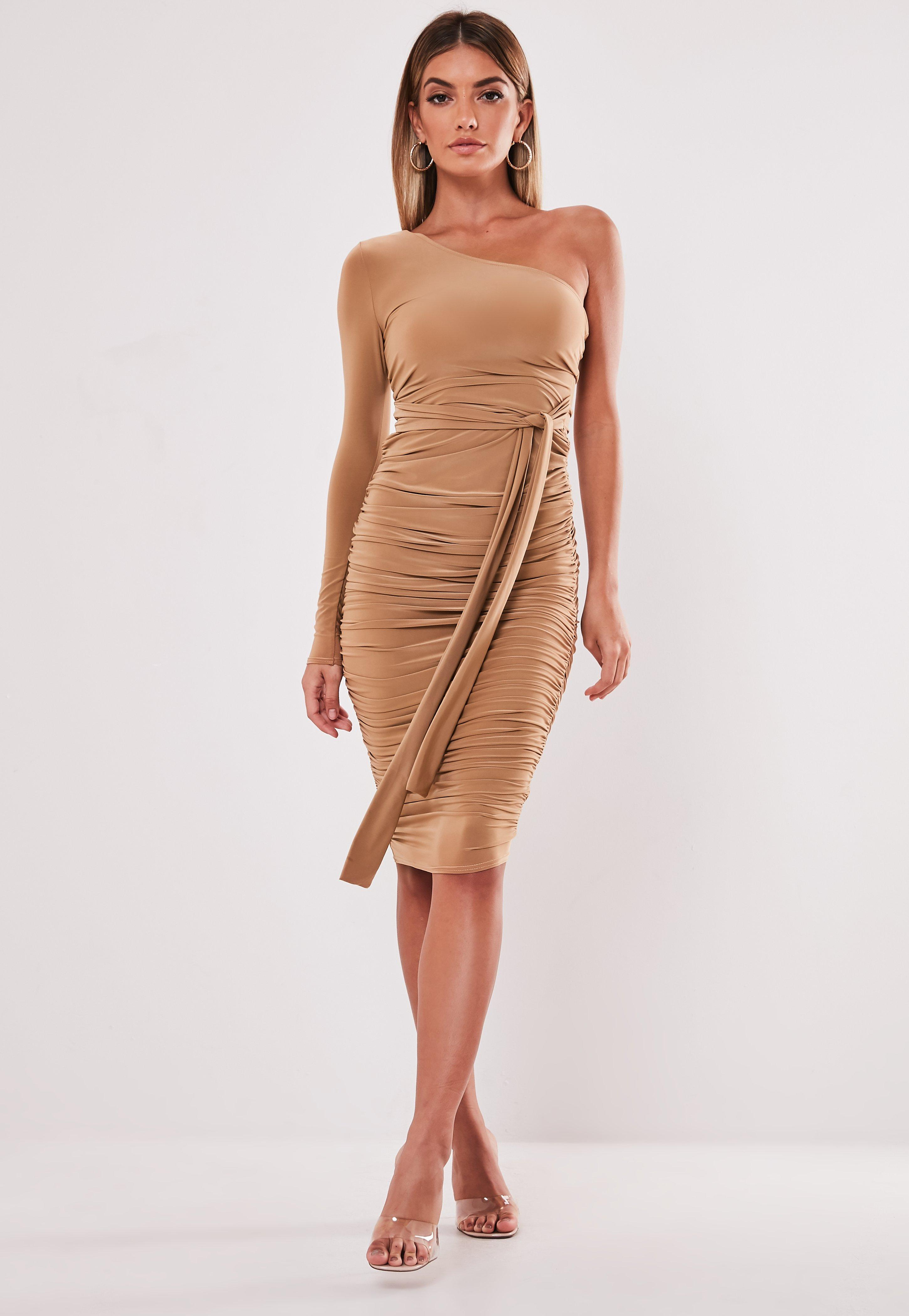 Camel One Shoulder Slinky Bodycon Ruched Midi Dress