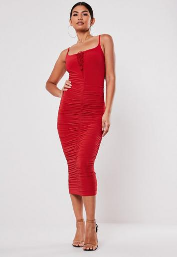 Red Slinky Lace Up Midi Dress Missguided