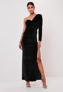 Black Velvet One Sleeve Drape Maxi Dress