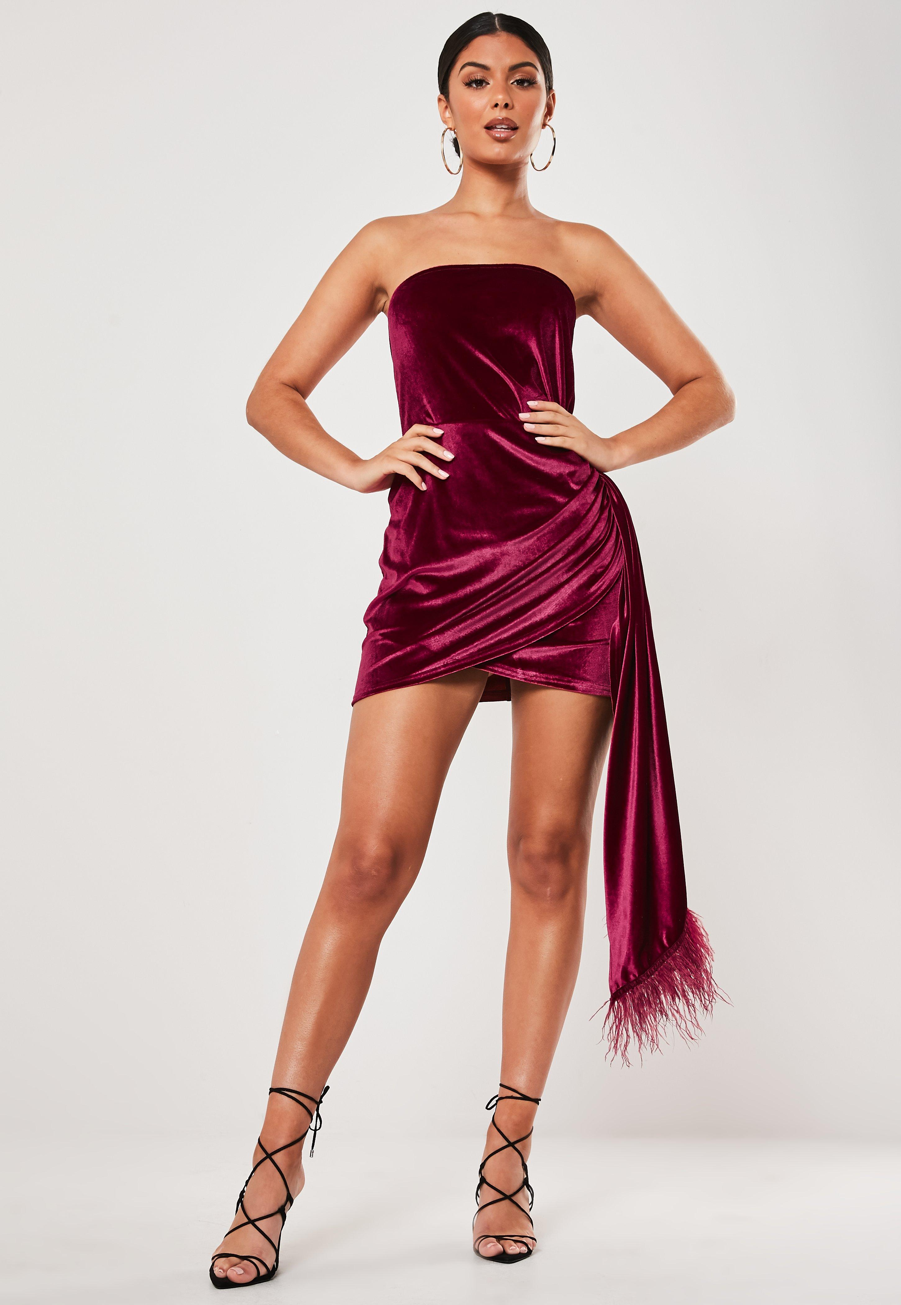 Christmas In July Outfits Australia.Red Velvet Feather Drape Bandeau Mini Dress