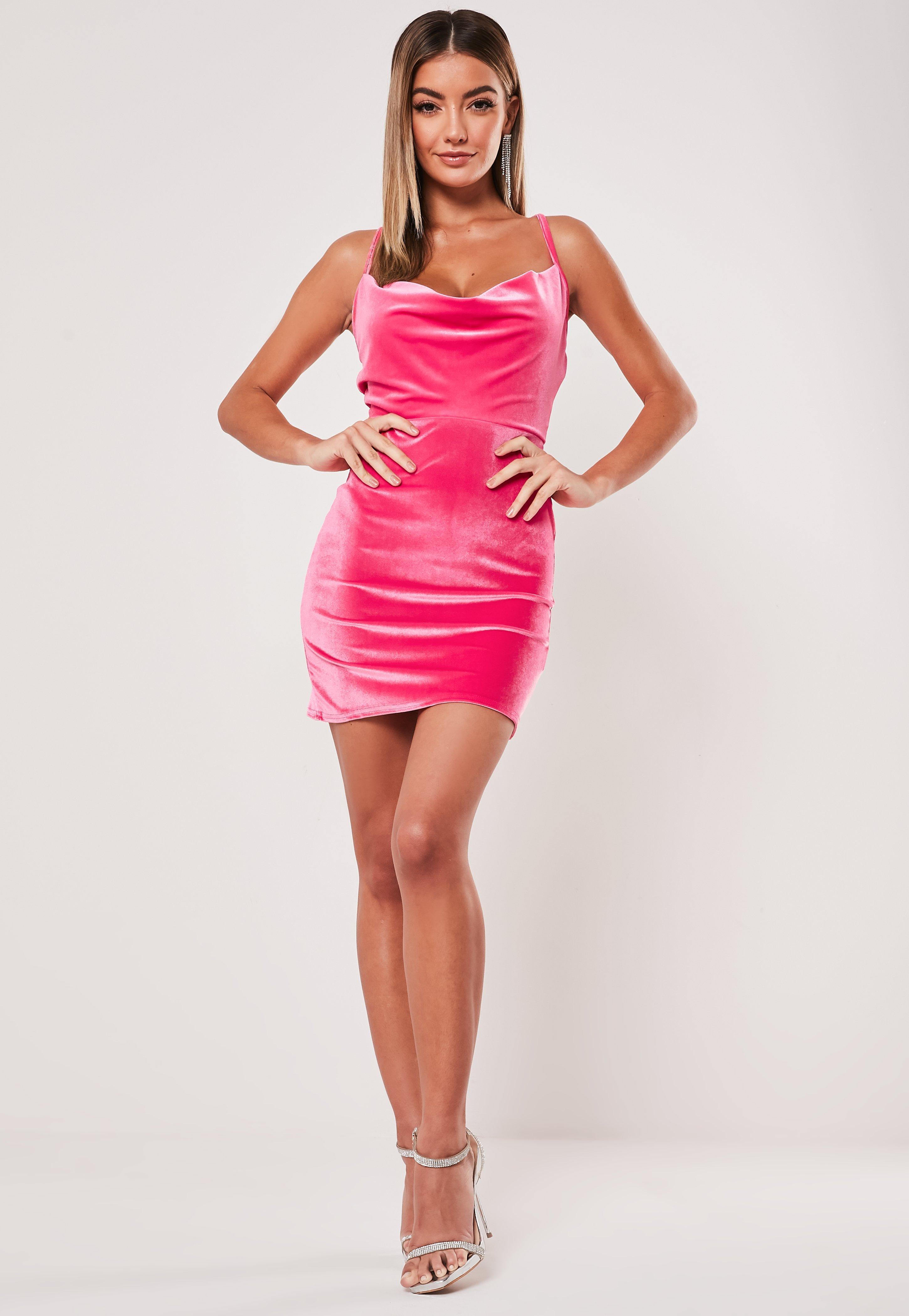 Neon Pink Velvet Strappy Cowl Mini Dress