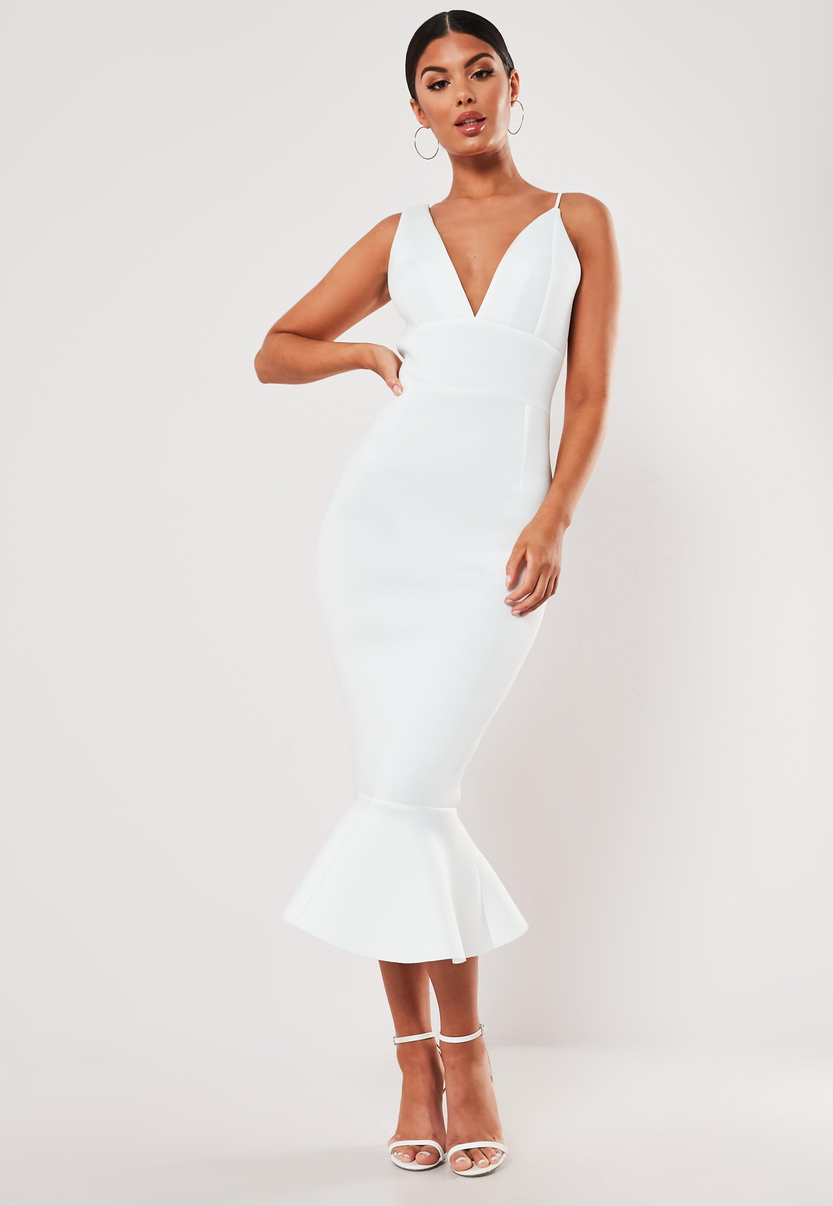 White Plunge Asymmetric Cami Scuba Midi Dress