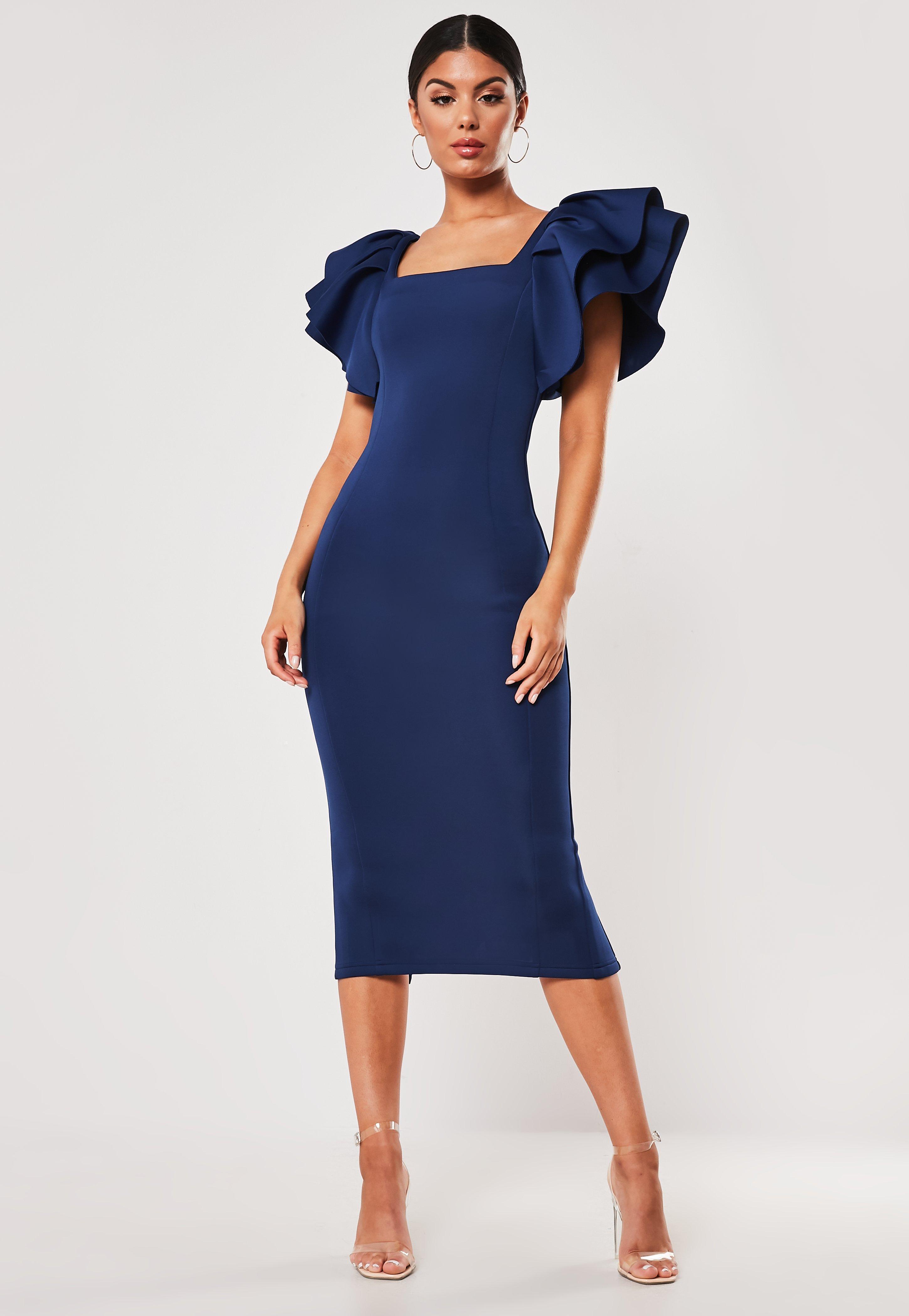 Navy Square Neck Scuba Midi Dress