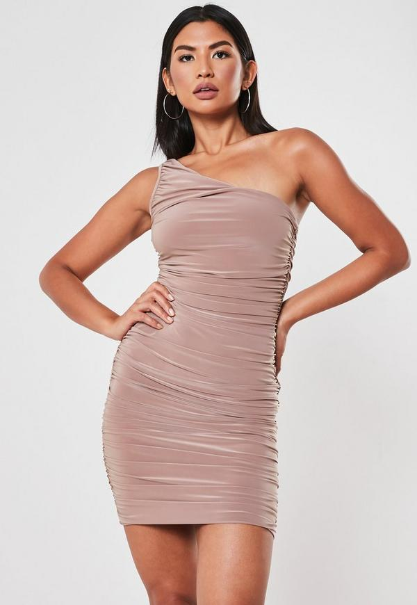 White Slinky One Shoulder Ruched Bodycon Mini Dress