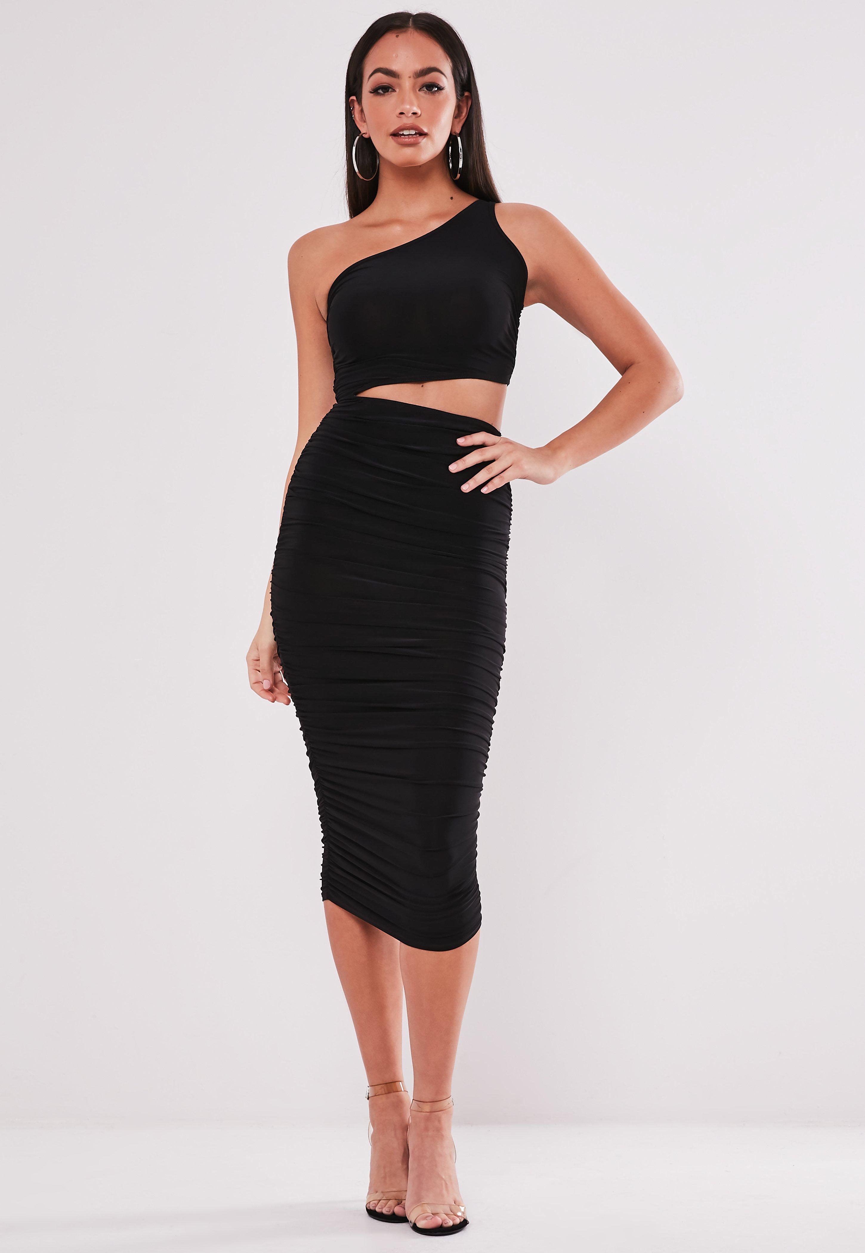 Black Slinky One Shoulder Cut Out Midi Dress