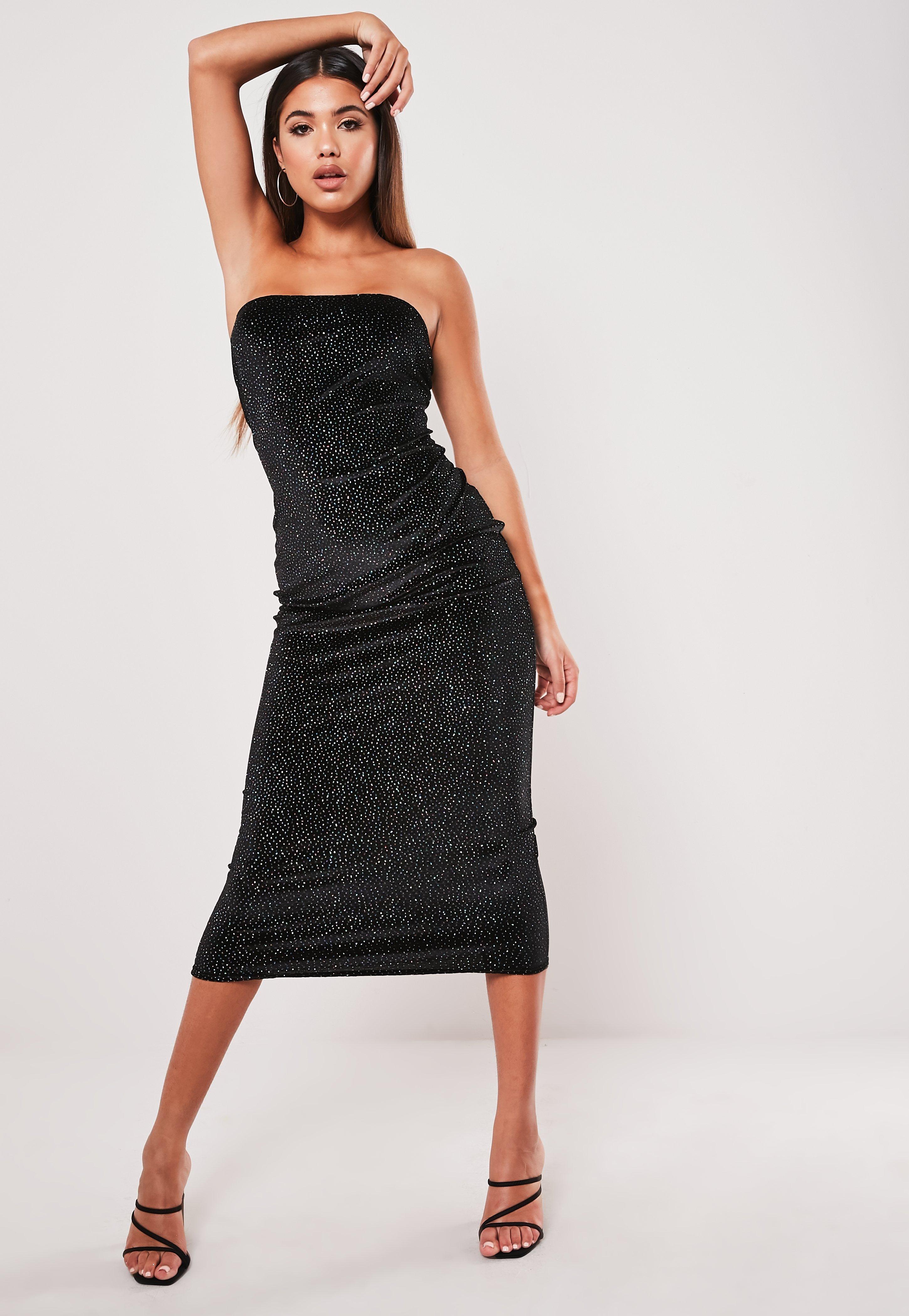 Black Glitter Velvet Bandeau Midaxi Dress