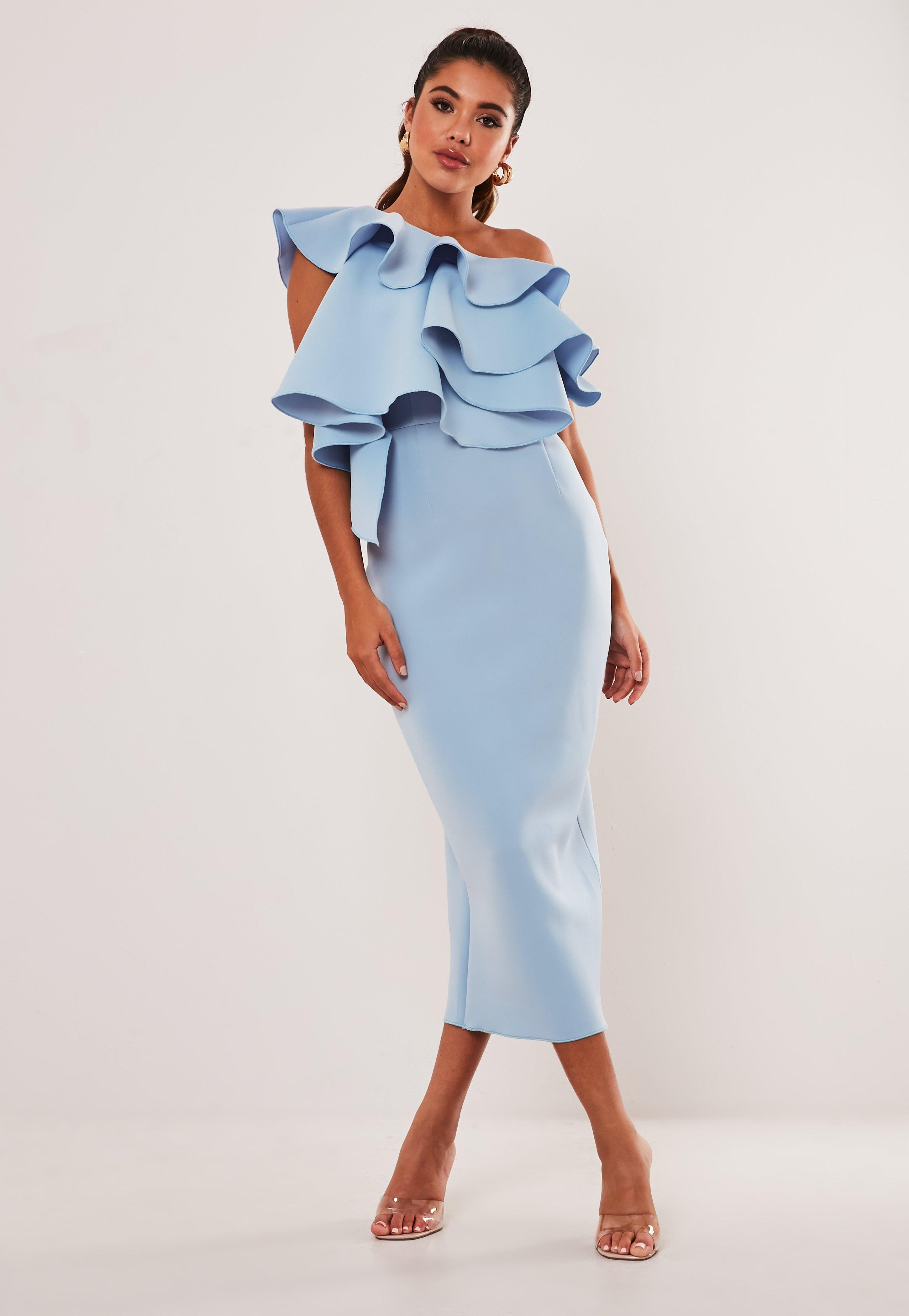 Blue One Shoulder Ruffle Scuba Midi Dress