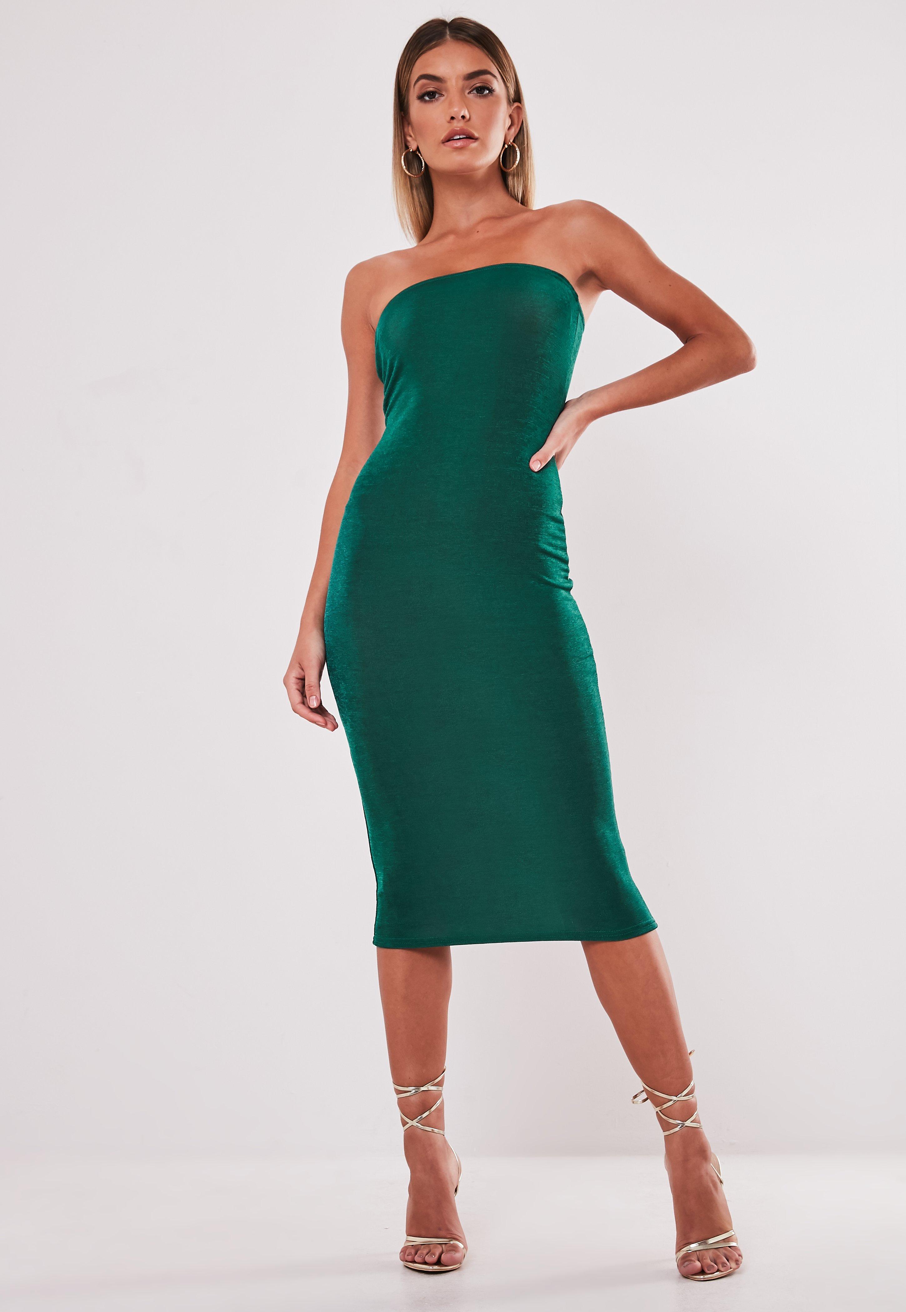 Teal Slinky Bandeau Midi Dress