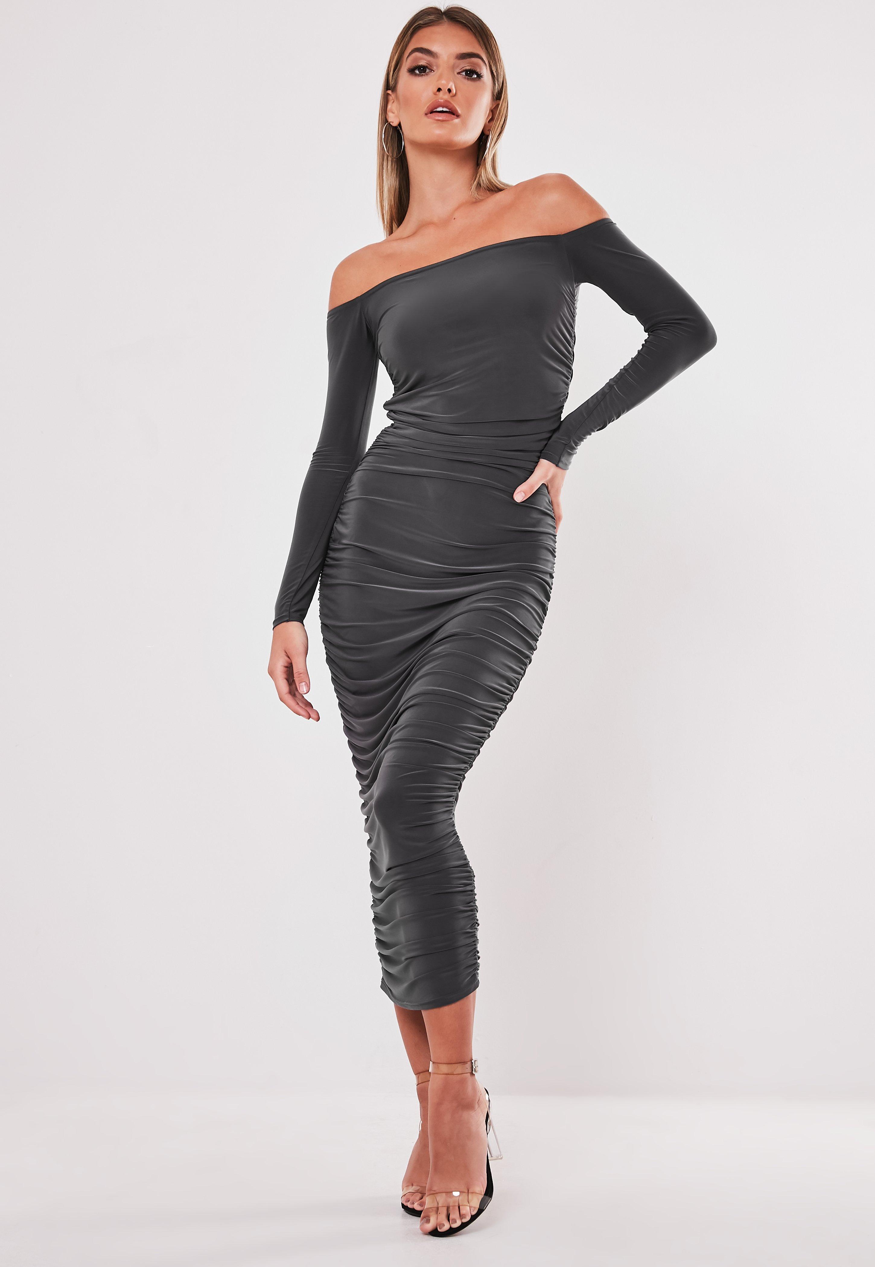 Grey Slinky Ruched Bardot Midaxi Dress