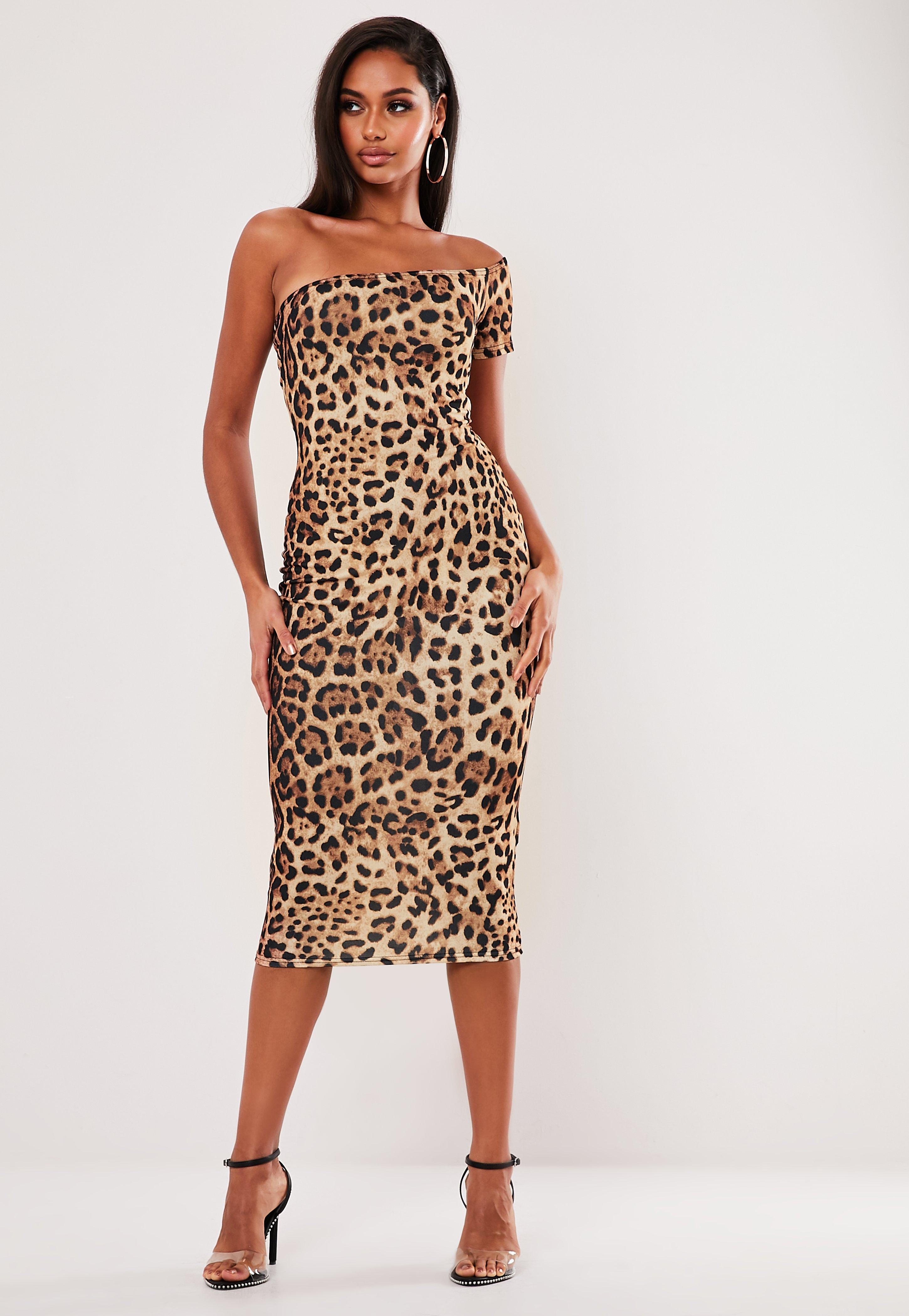 reasonably priced popular design largest selection of 2019 Brown Leopard Print One Shoulder Midaxi Dress