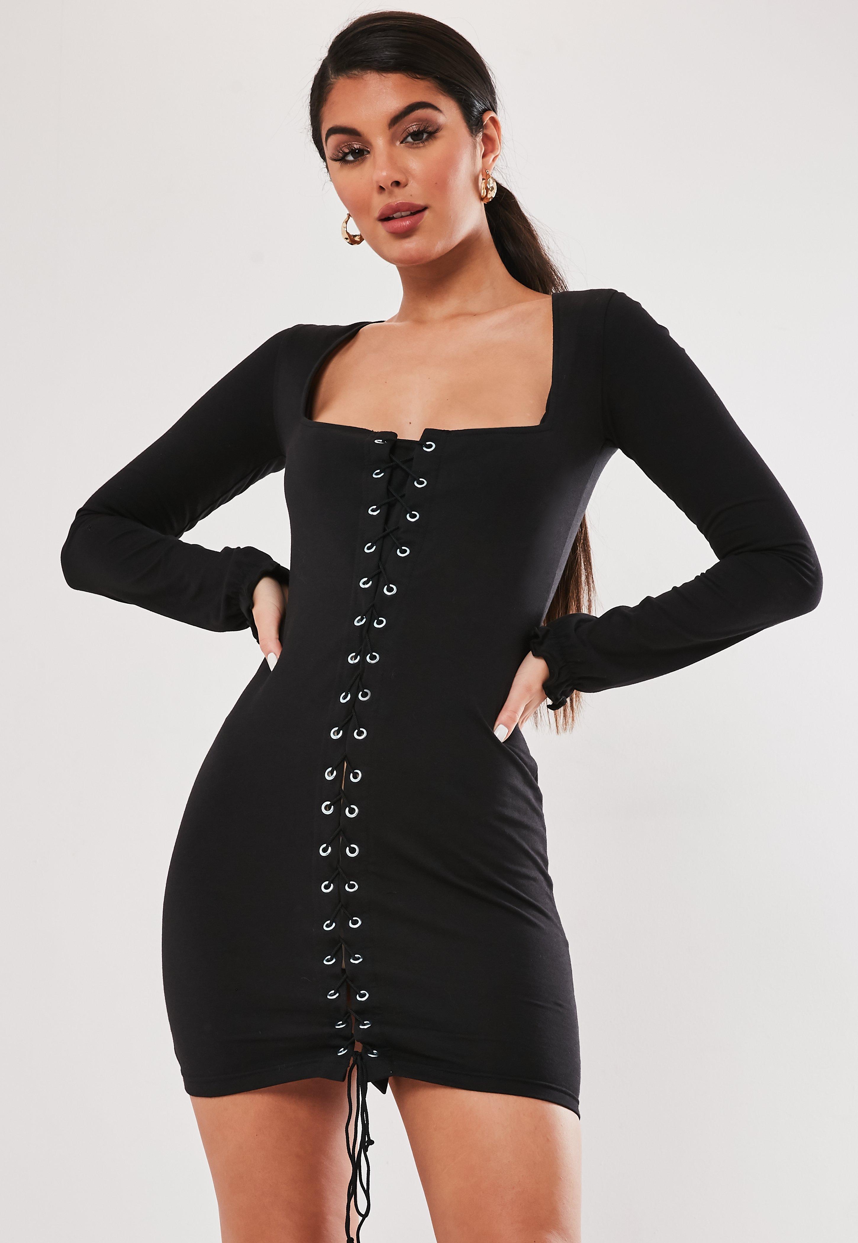 Black Lace Up Front Mini Dress